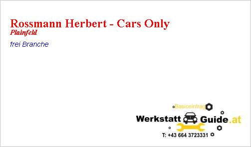 Rossmann Herbert Cars Only Werkstatt Guide At